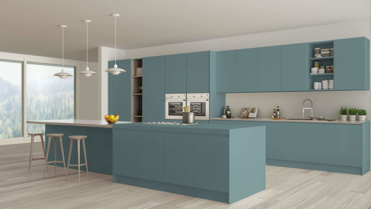 Kitchen with blue countertops