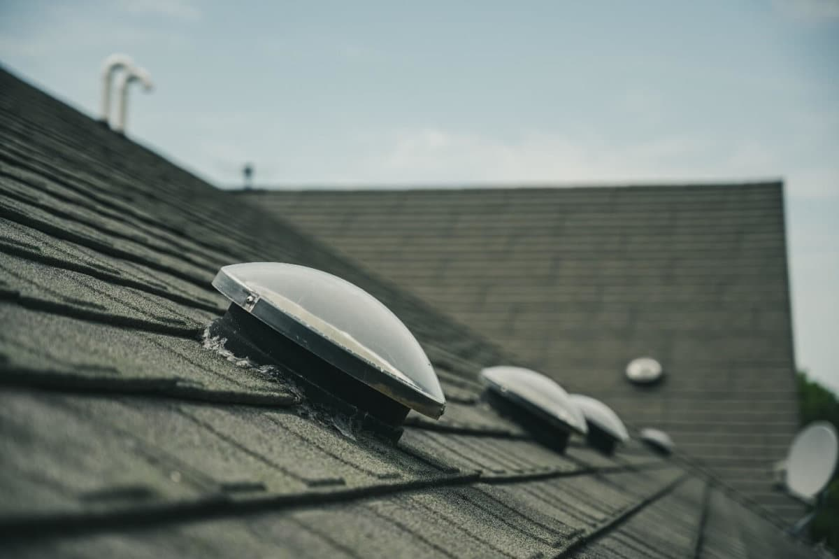 Skylight domes on top of a homes roof